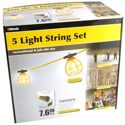 Woods Temporary String Lights with Receptacle