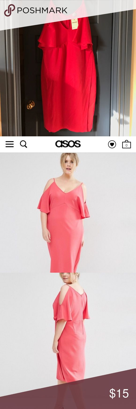 Pink plus size dress This is a super cute dress from ASOS. It has cut out sleeves and is mid length. It's never been worn. ASOS Curve Dresses Midi