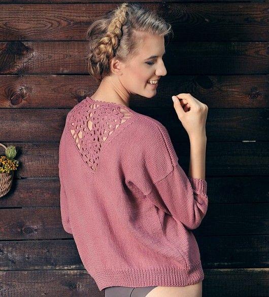 swetry-Sweter robiony na drutach 100% bawełna