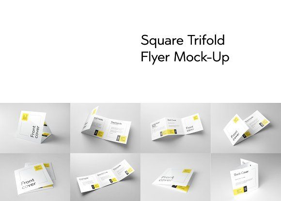 Trifold Square Flyer Mockup by Design by Mike Kondrat on Creative Market