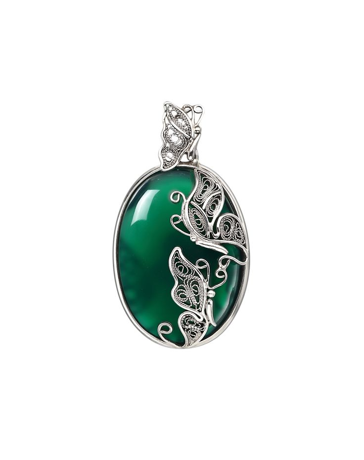 Green Agate Purely Manual Elaborate  Enamelled Filigree Pendant Necklace