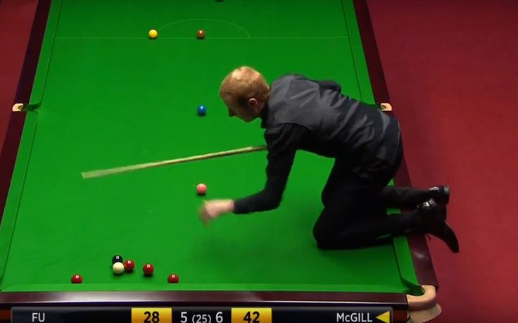 Anthony McGill Climbs On The Table 2016 World Snooker Championship