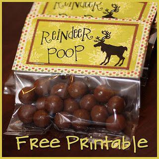 reindeer poop printable. HA!