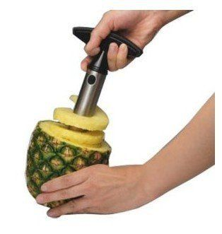 Stainless Steel Pineapple Corer Slicer Peeler Cutter by Sunvalley. $8.51. Fresh-cut pineapple is like a little taste of paradise--and if hacking up the whole spiky shebang weren't such a royal pain, we'd probably all eat a lot more of it. This stainless steel version of its slicer takes the work and mess out of this tropical treat, peeling, coring, and slicing an entire pineapple in just 30 seconds.  Description:   1. Made from durable stainless steel   2. Quic...