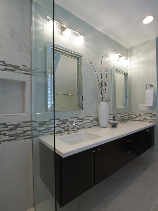 Floating Vanity Cabinet White Quartz Counter Top Rectangular Sinks Carrara Marble Linear