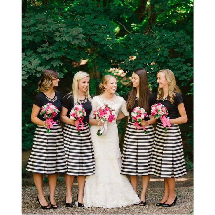 modest wedding dress, modest bridesmaids outfits. Photo: Heather Nan