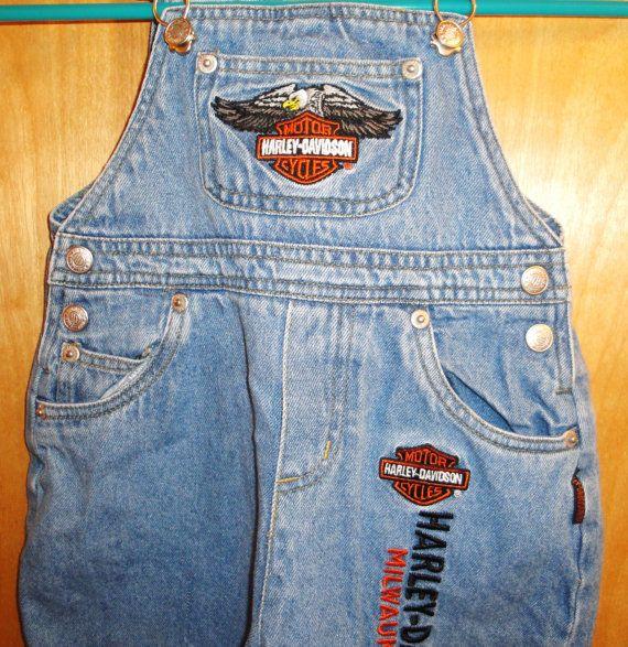 Biker Baby  Harley Davidson Overalls  Jeans  by MuzettasWaltz, $22.00