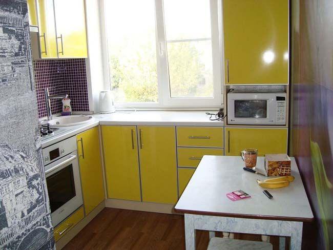 Маленькая жёлтая кухня - 60 фото!