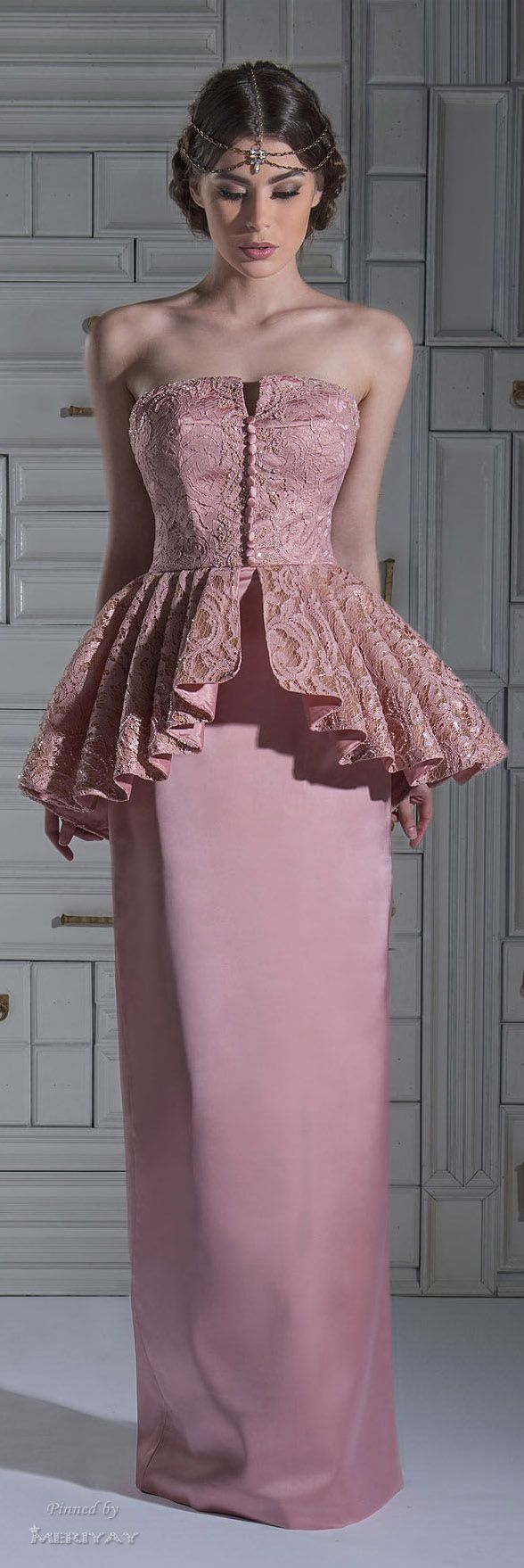 2015 Peplum Evening Gowns Pink Strapless Floor Length Sheath Prom Dresses Lace, Special Occassion Dress