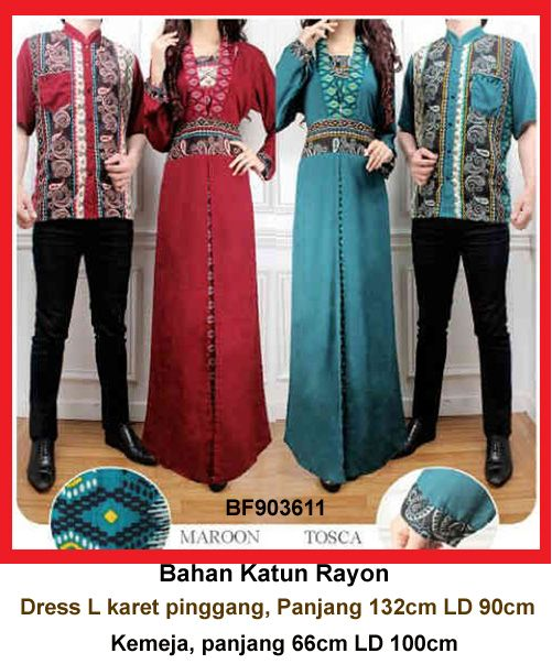 Baju Gamis Modern Terbaru - Detail produk model Setelan Gamis Couple 11: Bahan : Katun Rayon Kode : BF903611 Ukuran : Dress fit to L, panjang 132cm LD 90cm Ukuran : Kemeja, panjang 66