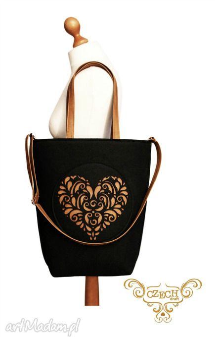 shopper bag folk 2 czarne serce - Czech draft. $28