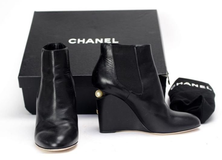 Authentic Chanel Black Leather Pearl Detail Wedge Ankle Boots, size 3.5, 7.5 #CHANEL #AnkleBoots