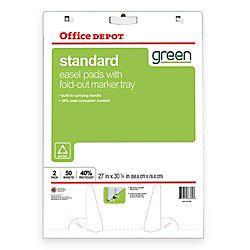 Office Depot Brand 40percent Recycled Bleed Resistant Easel Pads 27 x 32  Plain White Paper 50 Sheets Box Of 2 by Office Depot & OfficeMax