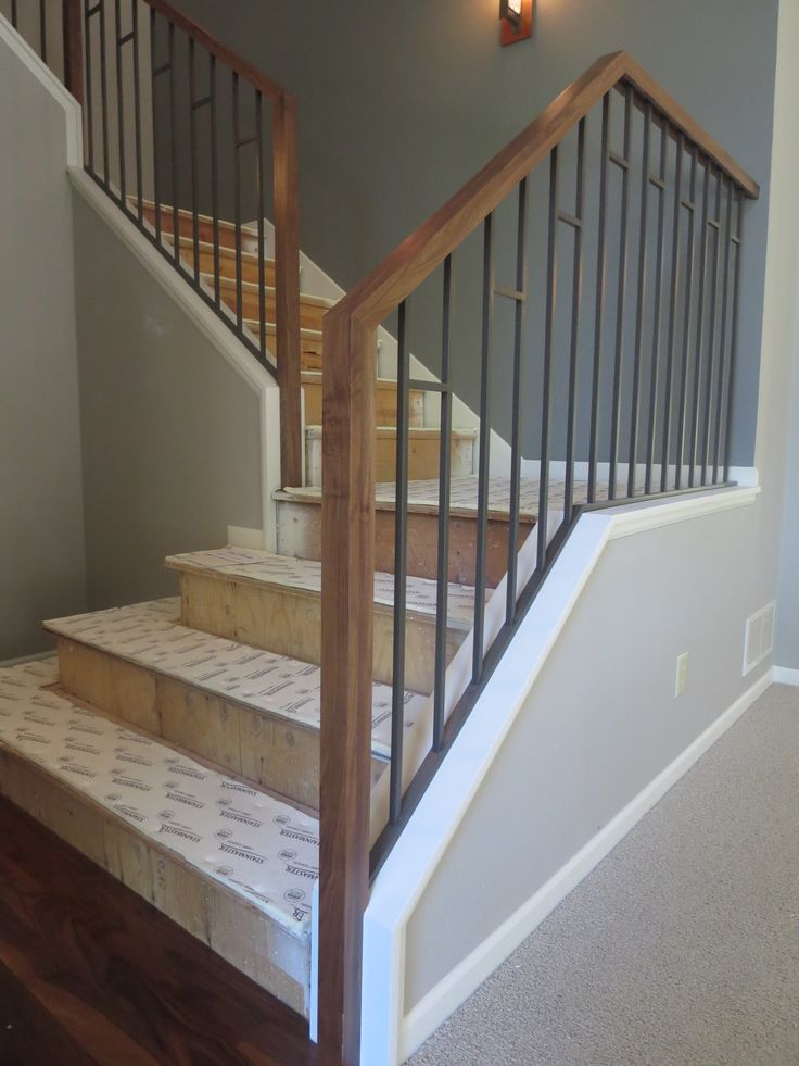 Wood stair railings interior best wrought iron railings for Interior iron railing designs