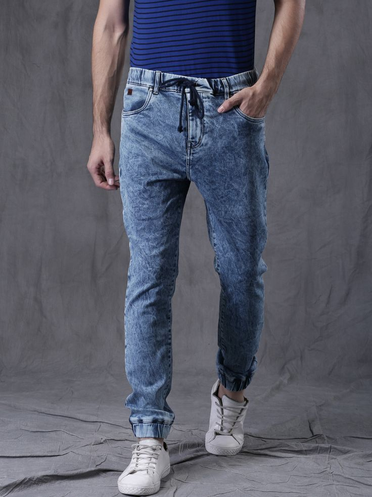 Buy WROGN Men Blue Slim Fit Jogger Jeans - Jeans for Men | Myntra