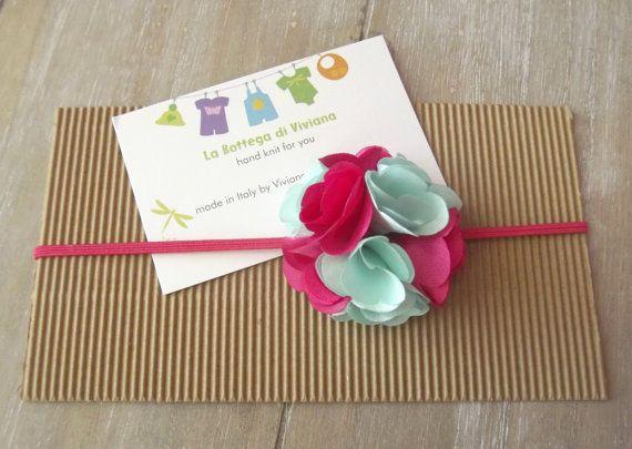 Baby Headbandsnewborn SATIN ROSETTE FLOWER by LaBottegaDiViviana, €3.30