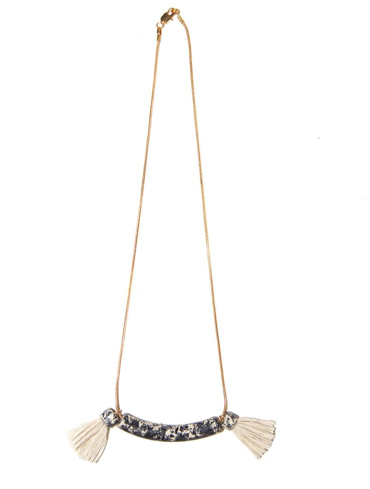 Ceramic Bar Necklace with Tassels - Speckle - Indigos Market