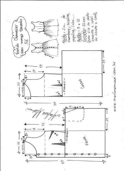 Esquema de modelagem de vestido chamisier tamanho 56.