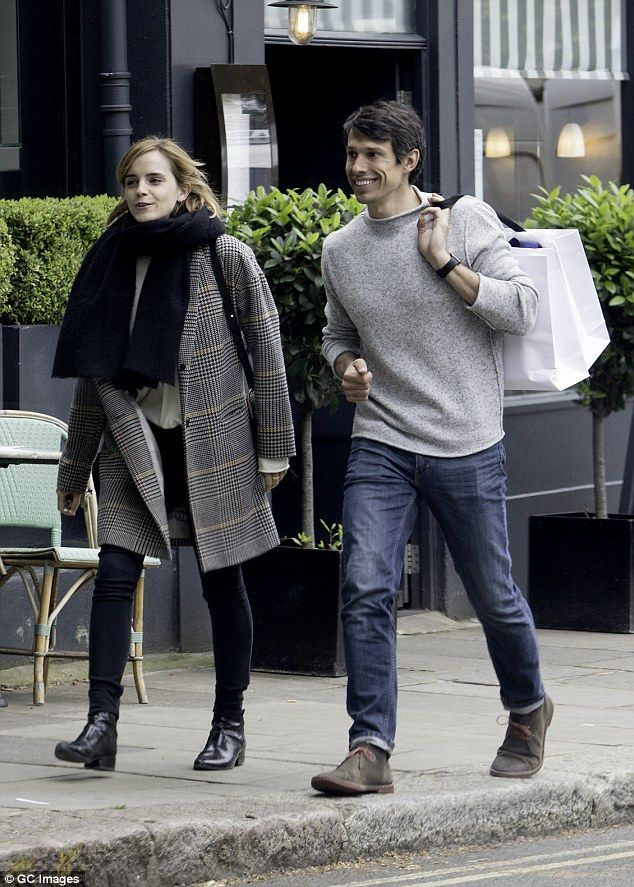 Casual outing: Emma Watson was beaming as she joined boyfriend William Mack Knight for a shopping spree in London last week