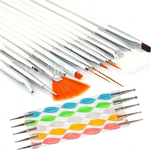 15PCS Nail Art Design Painting Drawing Pen Brush Set with 5PCS 2-way Dotting Marbleizing Pen Tool 2016 - $8.57