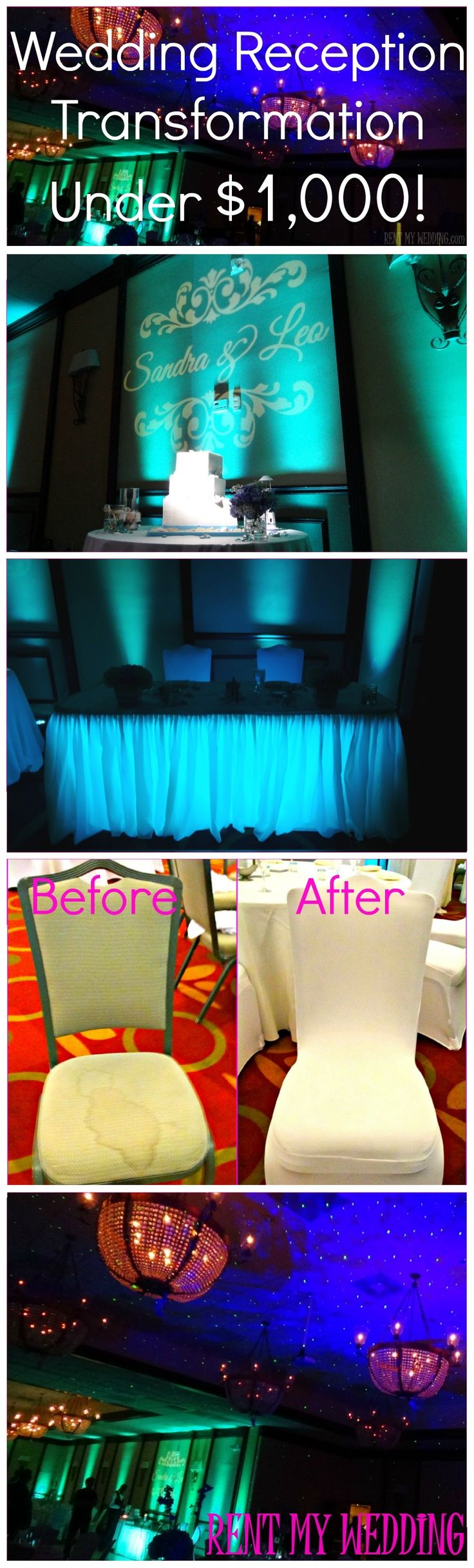 Wedding Reception Transformation Under $1,000! #RentMyWedding #diy #uplighting…