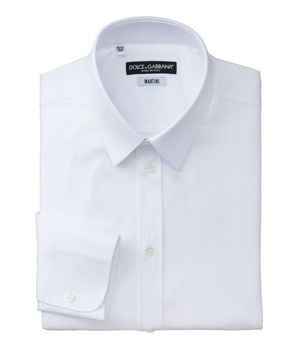 FROM MONDAY: A Dolce and Gabbana white point collar dress shirt. Keeping the shirt simple, not overwhelming the outfit with another colour.