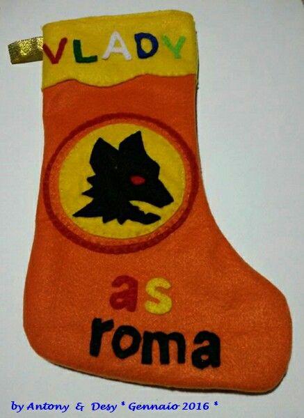 Calza befana con scudetto As Roma in pannolenci