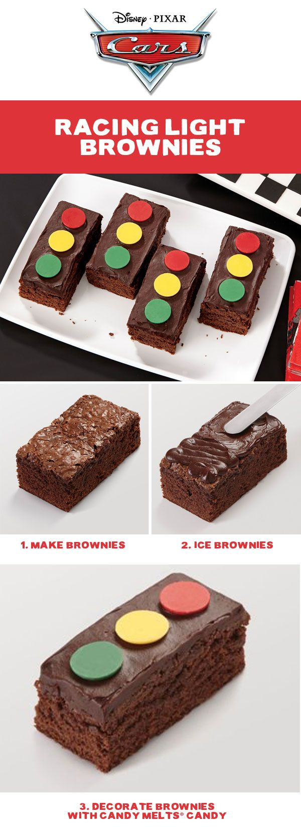 Put these easy-to-make treats out at the Cars birthday party and watch everyone race to grab them! The rich, fudgy brownies are baked in the Sheet Pan and topped with delicious chocolate decorator icing. Best of all, the decorating is easily done with wafers of colorful Wilton Candy Melts® Candy!