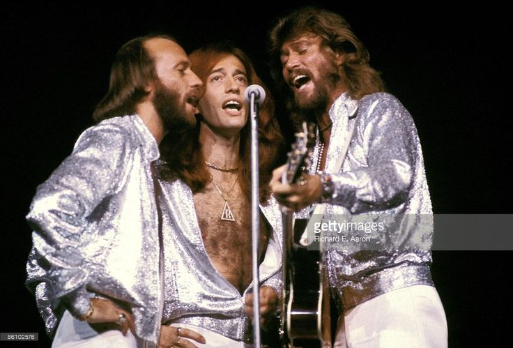 Maurice Gibb, Robin Gibb and Barry Gibb of The Bee Gees harmonising around a microphone while performing on stage at Madison Square Garden on the Spirits Having Flown Tour on September 7th, 1979 in New York.