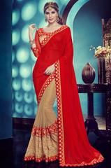 Classy Khaki Brown and Rust Red Saree  https://www.ethanica.com/products/classy-khaki-brown-and-rust-red-saree
