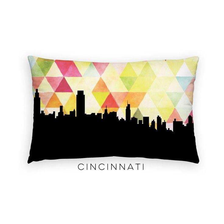 Cincinnati Skyline Geometric Lumbar Pillow   Yellow