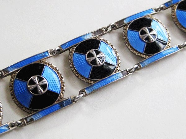 Vintage Art Deco Sterling Enamel Norway Meldahl Bracelet AS IS from quick-red-fox on Ruby Lane