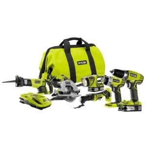 Ryobi+18-Volt+ONE++Lithium-Ion+Ultimate+Combo+Power+Tool+Kit+(6-Tool)+–+Model:+P884