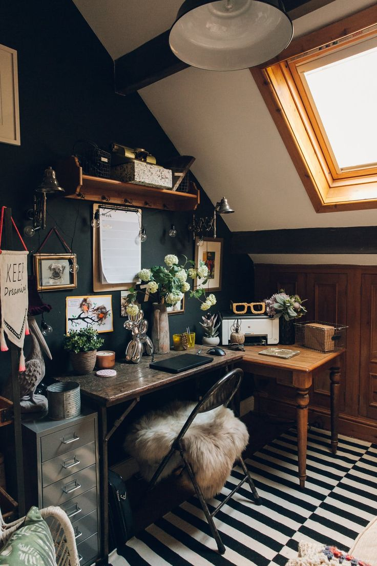 """""""Both my husband and I work from home and so it is important for us each to have a room to work from. Mine is filled with old furniture, a sofa and more art."""""""