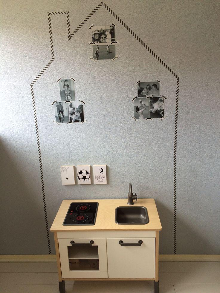 Keukentje van Ikea met huisje van washi tape