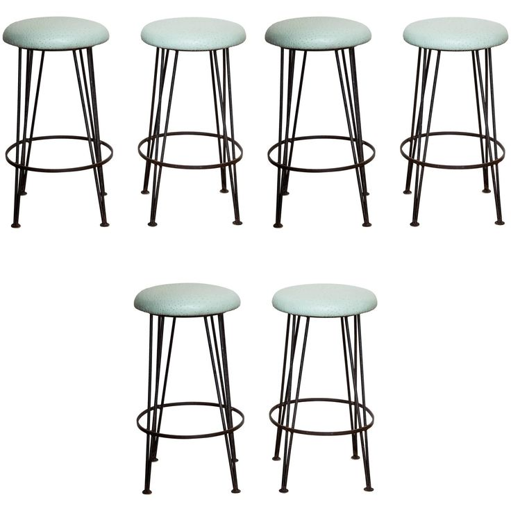 Amazing Set of Six Wrought Iron Bar Stools with Mint Green Ostrich Leather Tops