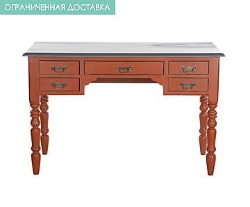 Стол письменный с ящиками - дерево - красный - Д130хШ65хВ83