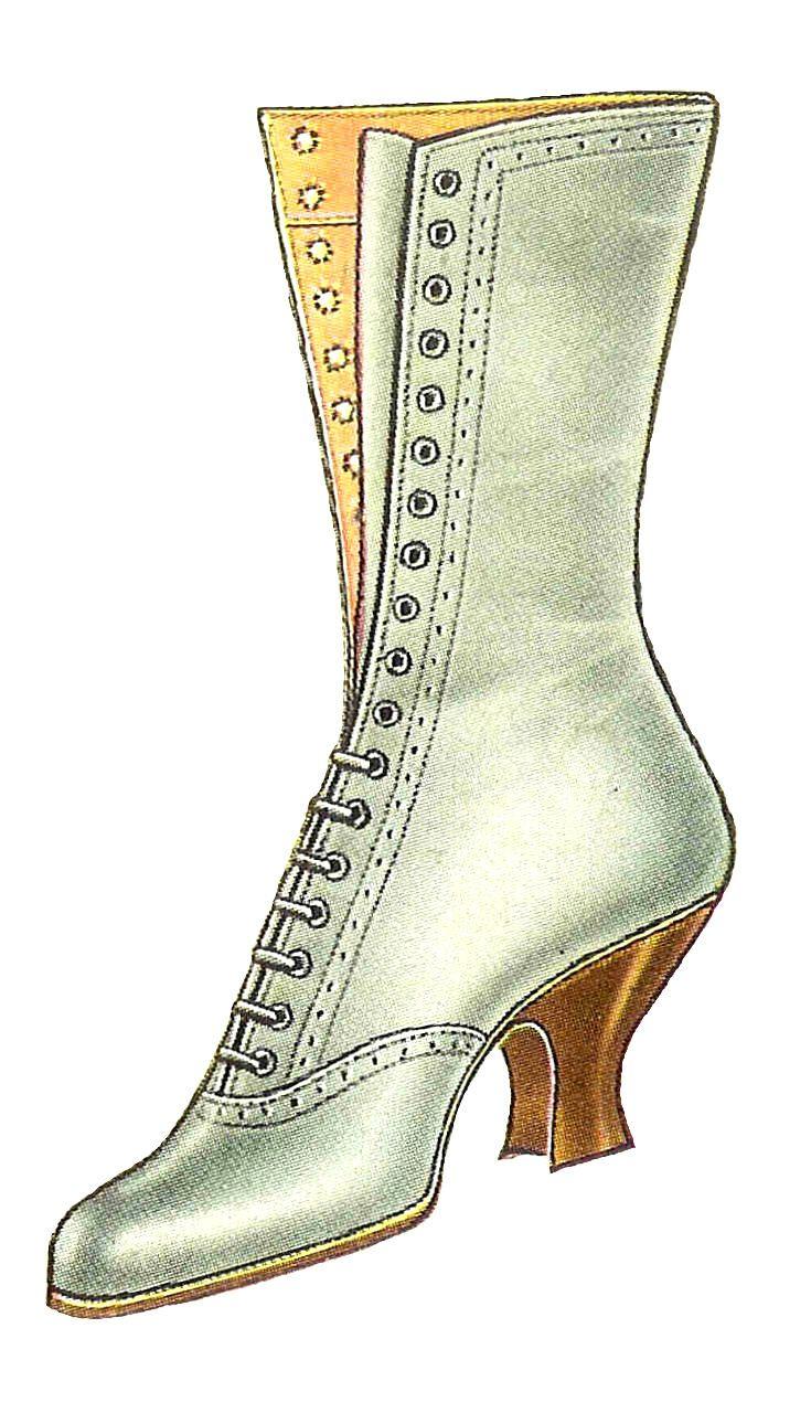 Antique Images: Free Fashion Clip Art: Vintage 1917 White Lace Up Womens Boot Fashion