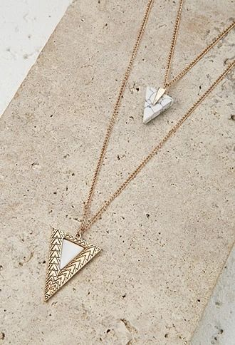 Triangle Pendant Necklace Set | Forever 21 #accessorize