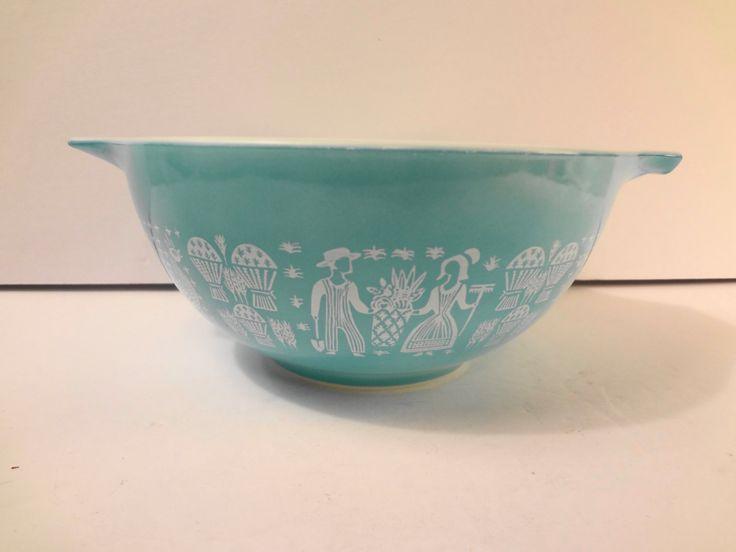Pyrex Amish Butterprint Turquoise Cinderella Mixing Bowl #442 1.25 qt Vintage MCM Cottage Chic by TresTresInteressant on Etsy