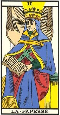 Interprétation de l'arcane de la Papesse dans le jeu du tarot de Marseille. - Apprendre le Tarot de Marseille, le Tarot Divinatoire
