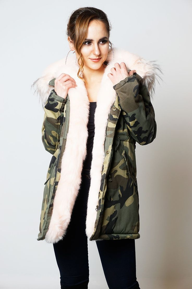 Tiffany Baby Pink Camouflage Faux Fur Hooded Coat
