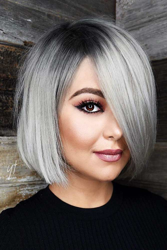 A Bob Hairstyle With Bangs Bun Hairstyle Highlights Pinterest