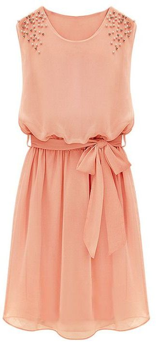 Coral Belt Chiffon Sundress // love love love