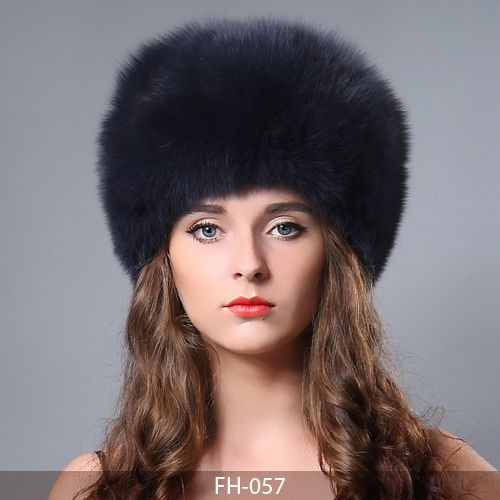 MBA Furs-Women's Winter Whole Set of Fox Skin Hat With Fox Tail FH-057 (1) (Navy)