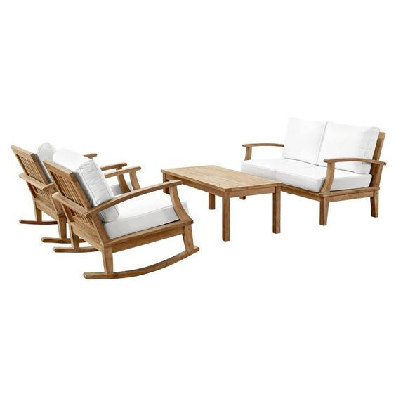 Rock the summer fun with family and friends with the luxurious Marina 5 Piece Outdoor Patio Teak Sofa Set with Rocking Chairs. Great addition to your patio to enjoy your time.  https://www.barcelona-designs.com/products/marina-5-piece-outdoor-patio-teak-sofa-set-5?utm_content=buffer5e859&utm_medium=social&utm_source=pinterest.com&utm_campaign=buffer #summerfun #familytime #friends #rockingchiars #patiofurniture #patio #Outdoor #teaksofa # Marina…