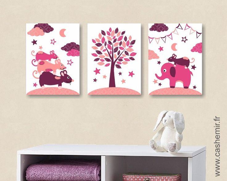 Lot de 3 illustrations pour chambre d'enfant fille, décoration chambre bébé affiche poster, réf.32 violet orange saumon : Décoration pour enfants par cashemir