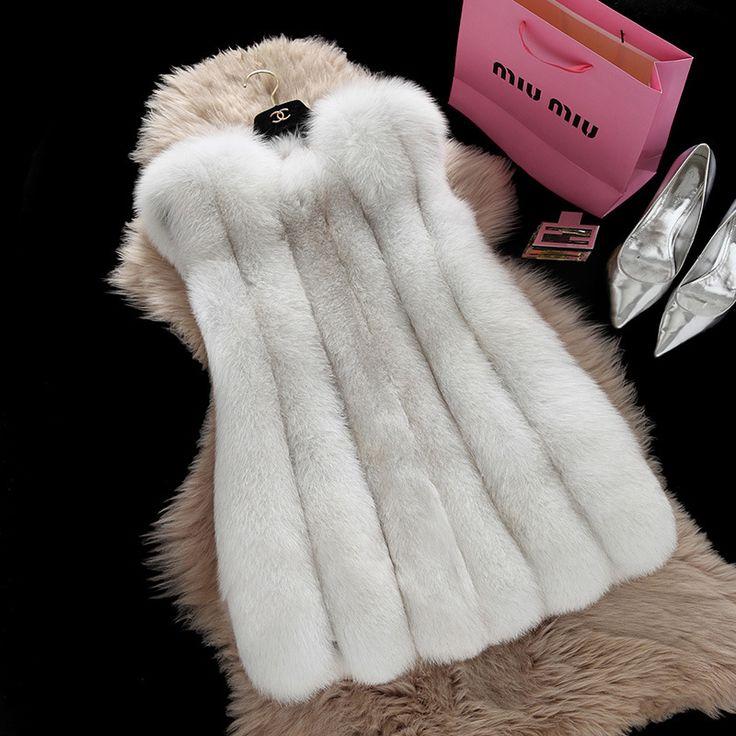 72 - 77 см длина 2016 мода зима женщины с меховой жилет из искусственного меха лисы жилеты женщина поддельные шуба куртка женская женские меховые жилеты