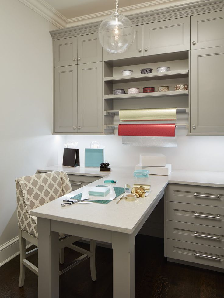 Craft & Wrapping Room, custom cabinetry & storage for ribbons, paper & supplies  Design Detail  Home Office  Vignette  American  Modern  Transitional by Reynolds Architecture, Design & Construction