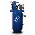 Quincy 5-HP 80-Gallon Two-Stage Air Compressor (230V 1-Phase). This USA-built unit is truly a heavy duty industrial compressor.     It isn't just dead weight, either - it includes an extra capacity oil reserve and a high efficiency aftercooler for drier air and less condensation.     The unit has a 1725rpm industrial motor to continuously run your business.